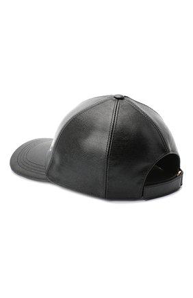 Мужской кожаная бейсболка GUCCI черного цвета, арт. 615903/3HK24 | Фото 2