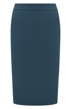Женская шерстяная юбка BOSS бирюзового цвета, арт. 50432874   Фото 1