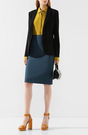 Женская шерстяная юбка BOSS бирюзового цвета, арт. 50432874   Фото 2