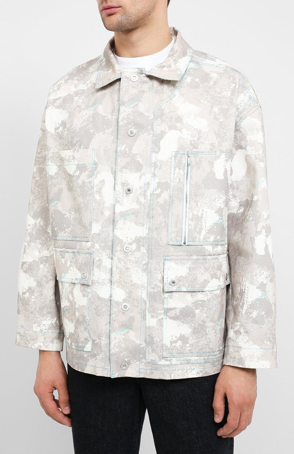 Мужская джинсовая куртка MARCELO BURLON бежевого цвета, арт. CMEL009E20FAB001 | Фото 3