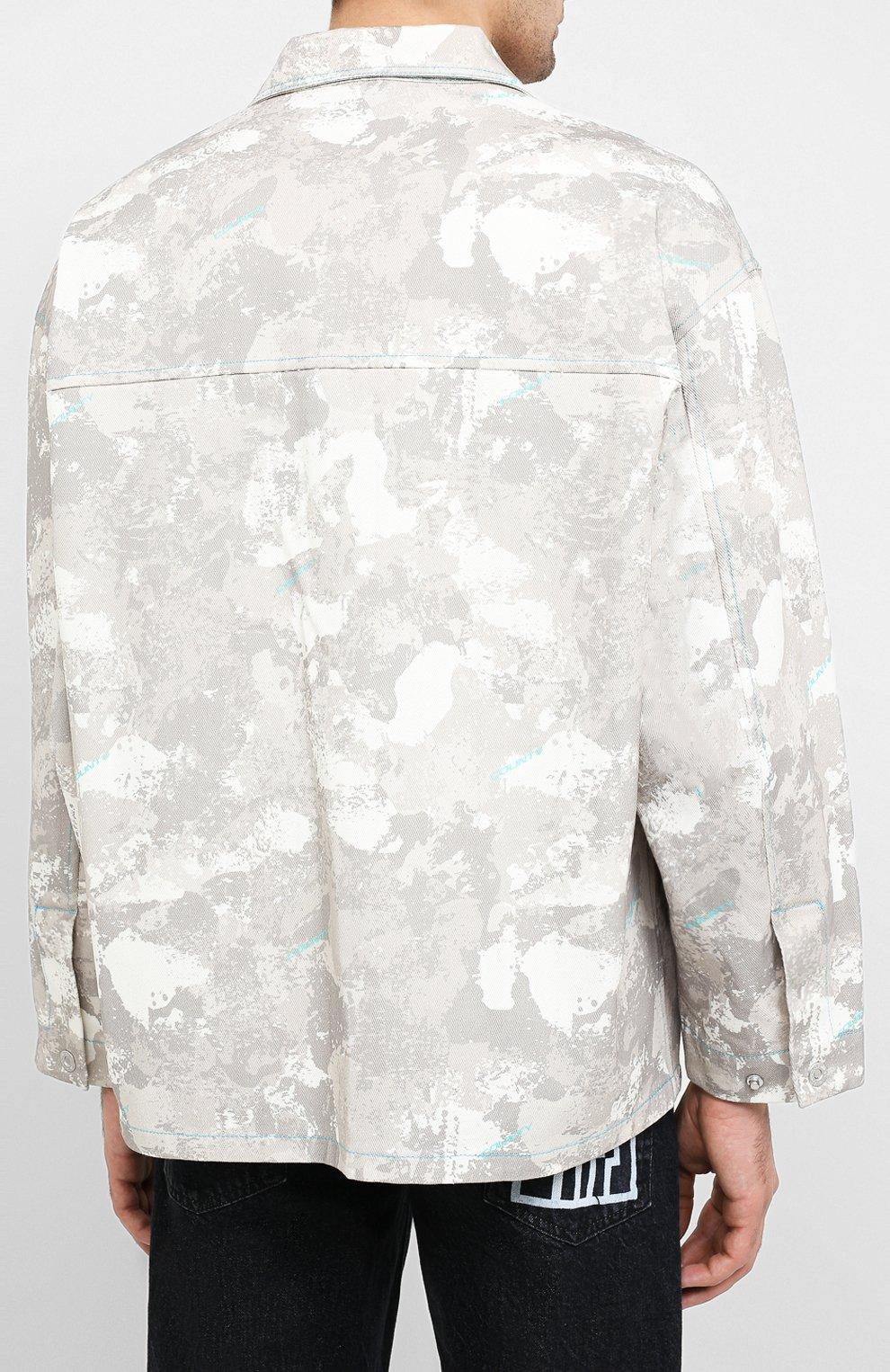 Мужская джинсовая куртка MARCELO BURLON бежевого цвета, арт. CMEL009E20FAB001 | Фото 4