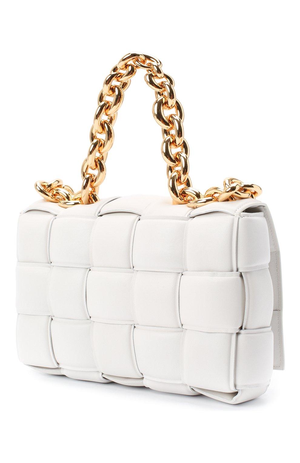 Женская сумка chain cassette BOTTEGA VENETA белого цвета, арт. 631421/VBWZ0 | Фото 3