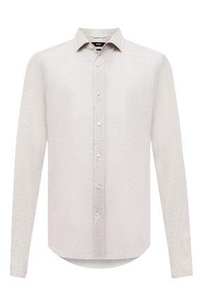 Мужская льняная сорочка BOSS бежевого цвета, арт. 50432540 | Фото 1