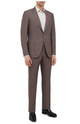 Мужская льняная сорочка BOSS бежевого цвета, арт. 50432540 | Фото 2