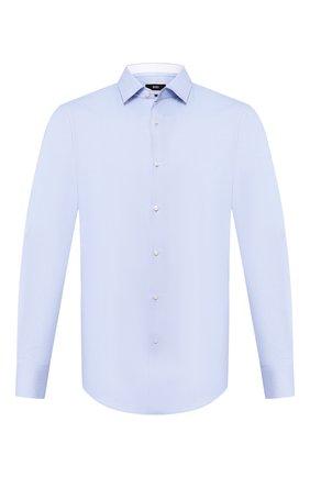 Мужская хлопковая сорочка BOSS голубого цвета, арт. 50433334 | Фото 1