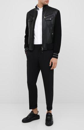 Мужской брюки NEIL BARRETT черного цвета, арт. PBPA720A/P027 | Фото 2
