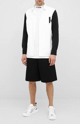 Мужская хлопковая рубашка NEIL BARRETT белого цвета, арт. PBCM1435C/P106C | Фото 2