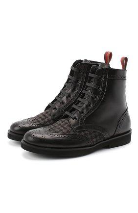 Детские кожаные ботинки с брогированием RONDINELLA черного цвета, арт. 11568F/662/34-36 | Фото 1