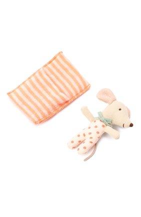 Детского игрушка новорожденная мышка MAILEG бежевого цвета, арт. 16-9710-01 | Фото 2