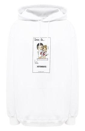 Женская хлопковое худи VETEMENTS белого цвета, арт. UAH21TR687 1600/W | Фото 1