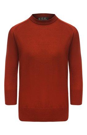 Женский кашемировый пуловер LORO PIANA красного цвета, арт. FAI4920 | Фото 1 (Материал внешний: Шерсть, Кашемир; Длина (для топов): Стандартные; Рукава: 3/4; Стили: Кэжуэл, Преппи, Классический, Минимализм; Женское Кросс-КТ: Пуловер-одежда)
