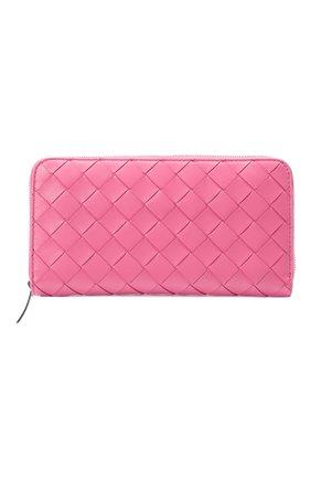 Женские кожаный кошелек BOTTEGA VENETA розового цвета, арт. 608051/VCPP2 | Фото 1