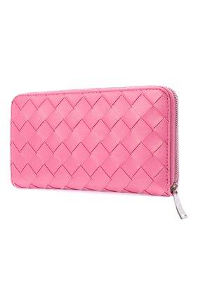 Женские кожаный кошелек BOTTEGA VENETA розового цвета, арт. 608051/VCPP2   Фото 2