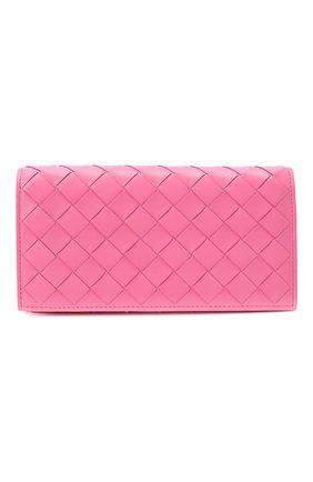 Женские кожаный кошелек BOTTEGA VENETA розового цвета, арт. 600873/VCPP3   Фото 1
