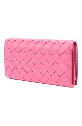 Женские кожаный кошелек BOTTEGA VENETA розового цвета, арт. 600873/VCPP3   Фото 2