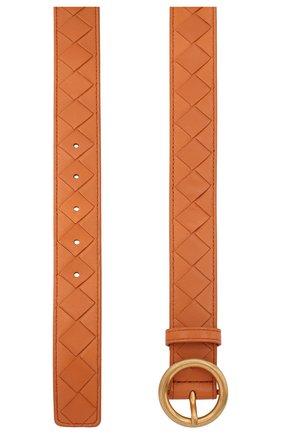 Женский кожаный ремень BOTTEGA VENETA оранжевого цвета, арт. 608559/VCPP5 | Фото 2 (Материал: Кожа)