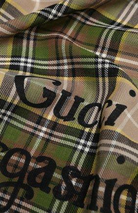 Мужской шерстяной шарф gucci orgasmique GUCCI бежевого цвета, арт. 620547/4G200 | Фото 2