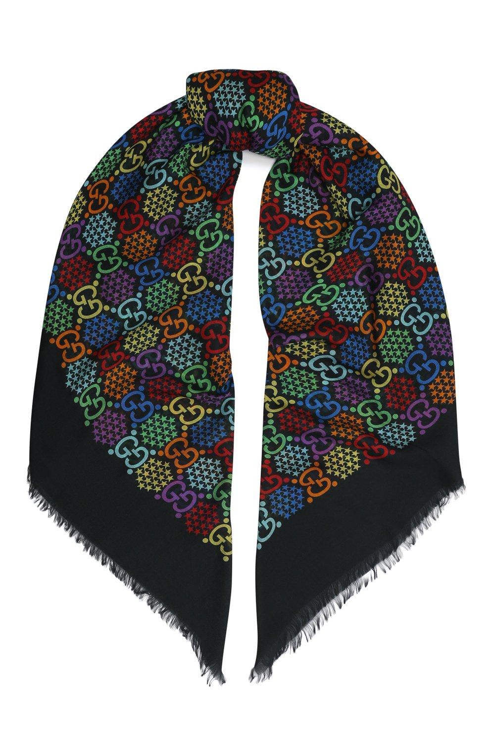 Мужской шарф gg psychedelic GUCCI разноцветного цвета, арт. 600975/4G865   Фото 1