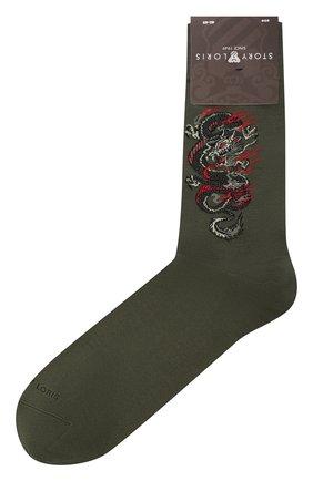 Мужские хлопковые носки STORY LORIS зеленого цвета, арт. 5989 | Фото 1