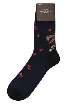 Мужские хлопковые носки STORY LORIS темно-синего цвета, арт. 5943 | Фото 1