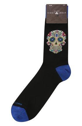 Мужские хлопковые носки STORY LORIS черного цвета, арт. 5935 | Фото 1