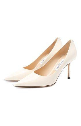 Женская кожаные туфли love 85 JIMMY CHOO белого цвета, арт. L0VE 85/PWJ | Фото 1