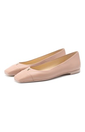 Женские кожаные балетки gisela JIMMY CHOO светло-розового цвета, арт. GISELA FLAT/NPX | Фото 1
