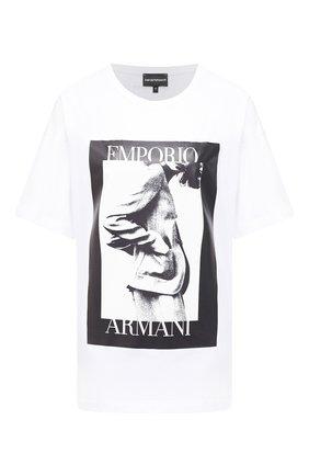 Женская хлопковая футболка EMPORIO ARMANI белого цвета, арт. 6H2T7L/2J30Z | Фото 1