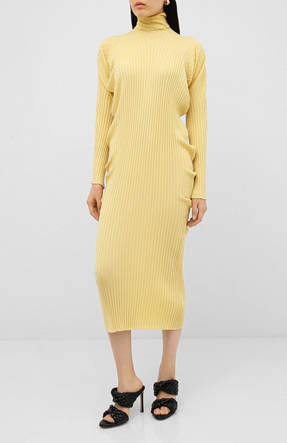 Женское шерстяное платье BOTTEGA VENETA бежевого цвета, арт. 626961/VKWG0 | Фото 3