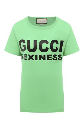 Женская хлопковая футболка GUCCI зеленого цвета, арт. 623608/XJCLE | Фото 1