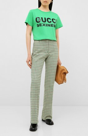 Женская хлопковая футболка GUCCI зеленого цвета, арт. 623608/XJCLE | Фото 2