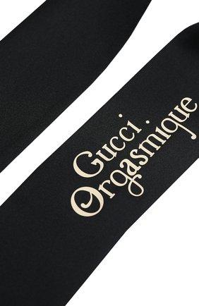 Женский шелковый платок orgasmique GUCCI черного цвета, арт. 623145/3G001 | Фото 2