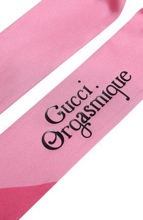 Женский шелковый платок orgasmique GUCCI розового цвета, арт. 623145/3G001 | Фото 2