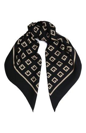 Женский шелковый платок lettering GUCCI черного цвета, арт. 623121/3G001 | Фото 1