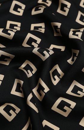 Женский шелковый платок lettering GUCCI черного цвета, арт. 623121/3G001 | Фото 2