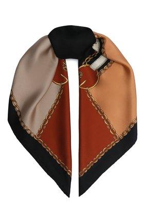 Женский шелковый платок runbelts GUCCI коричневого цвета, арт. 621940/3G001 | Фото 1
