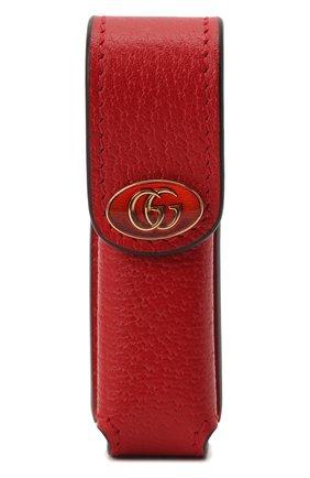 Женская косметичка porte-rouges GUCCI красного цвета, арт. 615998/DJ2QS | Фото 1 (Материал: Кожа)