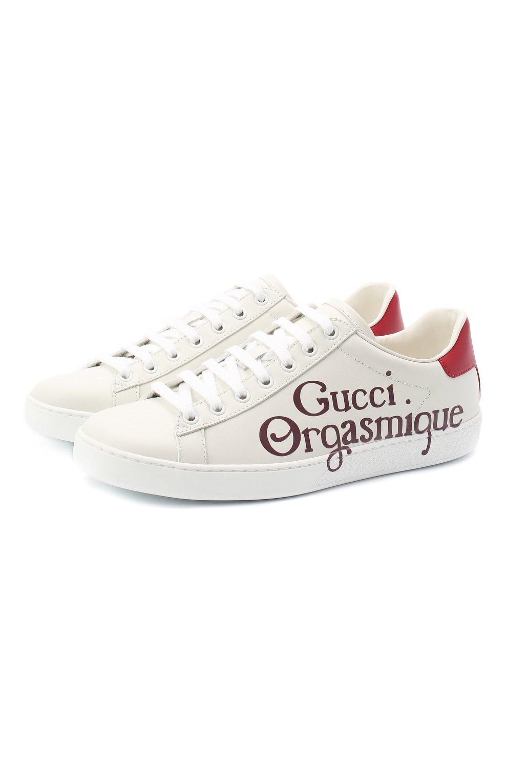 Женские кожаные кеды new ace GUCCI белого цвета, арт. 623234/AY010 | Фото 1