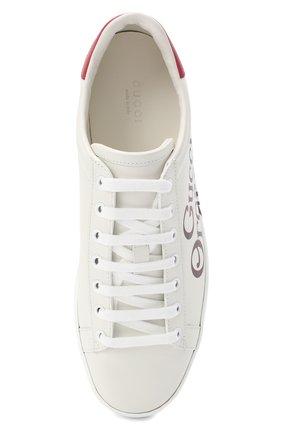 Женские кожаные кеды new ace GUCCI белого цвета, арт. 623234/AY010 | Фото 5