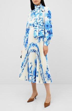 Женское шелковое платье VALENTINO голубого цвета, арт. UB3VATA05LV | Фото 2