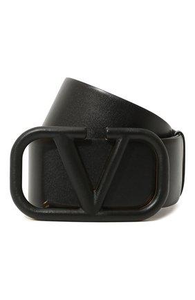 Женский кожаный ремень  VALENTINO черного цвета, арт. UW2T0S10/YEE   Фото 1 (Материал: Кожа)