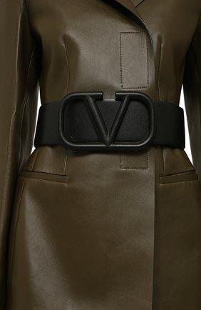 Женский кожаный ремень  VALENTINO черного цвета, арт. UW2T0S10/YEE   Фото 2 (Материал: Кожа)