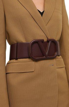 Женский кожаный ремень  VALENTINO бордового цвета, арт. UW2T0S10/YEE   Фото 2 (Материал: Кожа)