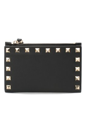 Женские кожаный кошелек valentino garavani rockstud VALENTINO черного цвета, арт. UW2P0605/B0L | Фото 1