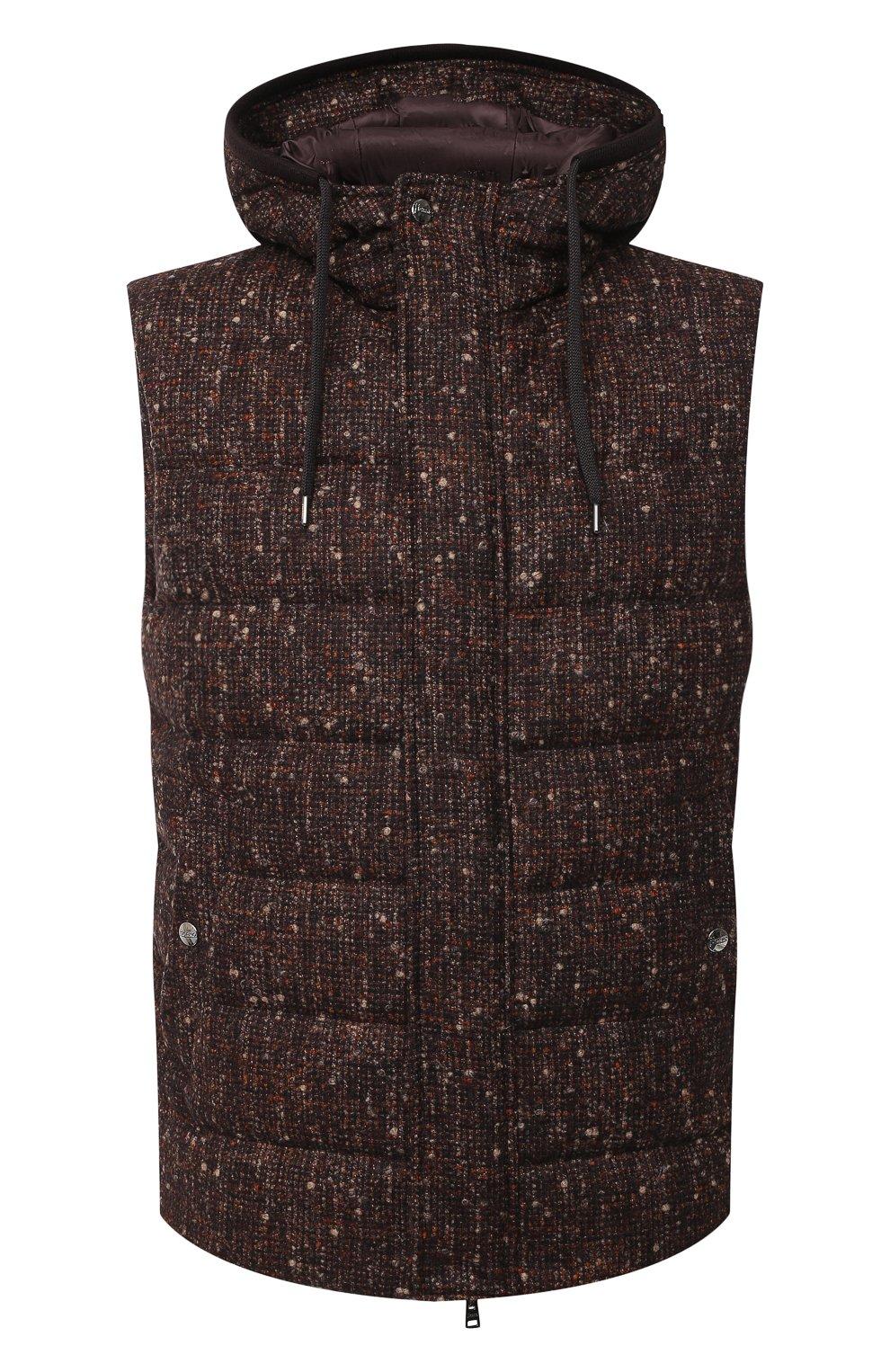 Мужской пуховый жилет HERNO коричневого цвета, арт. PI064UR/33281 | Фото 1