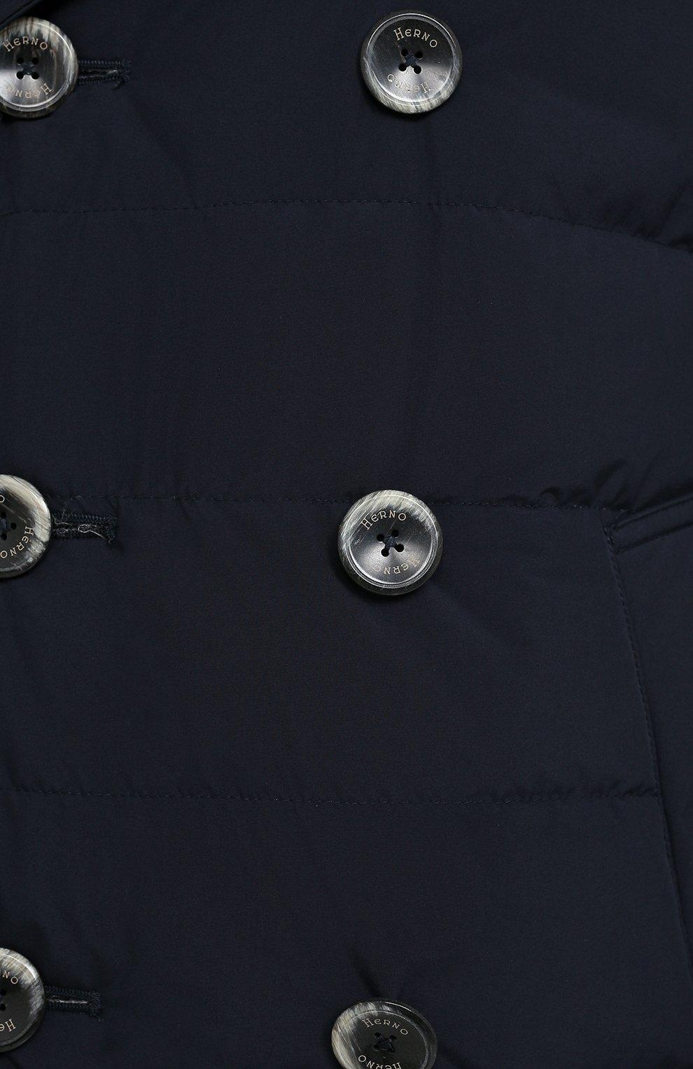 Мужская пуховик с меховой отделкой HERNO темно-синего цвета, арт. PI049UR/12015   Фото 5