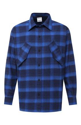 Мужская хлопковая рубашка MARCELO BURLON синего цвета, арт. CMGA057E20FAB001 | Фото 1