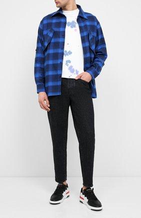Мужская хлопковая рубашка MARCELO BURLON синего цвета, арт. CMGA057E20FAB001 | Фото 2