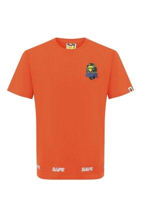 Мужская хлопковая футболка BAPE оранжевого цвета, арт. 1F20110095   Фото 1
