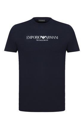 Мужская хлопковая футболка EMPORIO ARMANI темно-синего цвета, арт. 8N1T61/1J00Z   Фото 1